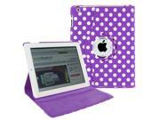 KIQ (TM) Polka Dot Purple 360 Rotating Leather Case Cover Skin Stand for Apple iPad Air 5th Gen