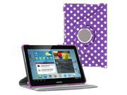 "KIQ (TM) Polka Purple 360 Rotating Leather Case Cover Skin Stand for Samsung Galaxy Note 10.1"" N8000"