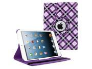 KIQ (TM) Purple Checkered 360 Rotating Folio PU Leather Case Cover for Apple iPad Air 5th Gen