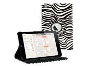 KIQ (TM) Zebra 360 Rotating Leather Case Pouch Cover Skin Stand for Apple iPad Mini 2