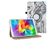 KIQ (TM) Map Blue 360 Rotating Leather Case Skin Cover Swivel for Samsung Galaxy Tab S 8.4 T700