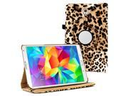 KIQ (TM) Leopard 360 Rotating Leather Case Skin Cover Swivel for Samsung Galaxy Tab S 8.4 T700