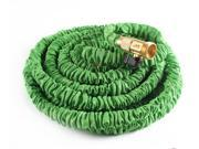 50FT/75FT Green Latex Flexible Expandable Car Washing Garden Water Hose Pipe With Spray Nozzle Head Set - Retractable Quality Brass Ends