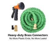 50FT Green Flexible Expandable Car Washing Garden Water Hose Pipe With Spray Nozzle Head Set - Retractable Quality Brass Ends