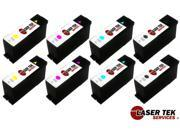 Laser Tek Services® 8 Pack Black & Color Remanufactured Replacement Cartridges for Lexmark 100XL