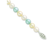 Sterling 20in Silver 7-8mm Blue & White Freshwater Cultured Pearl Necklace.