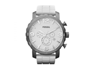 Fossil Nate Chronograph White Silicone Mens Watch JR1427