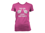 This Girl Loves Her Fiance T-Shirt Funny Women's Bachelorette Shirt M