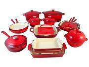 Le Chef 22 Piece Enameled Cast Iron Cherry Cookware Set, on Sale.