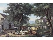 The Old Homestead Currier & Ives (1834-1907 American) Poster Print (18 x 24)