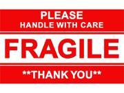 """3""""x5"""" Glossy Fragile Handle with Care Adhesive Label - 250 Roll"""