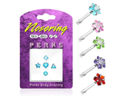 Sterling silver nose pin pack with 5 assorted shapes, 20 ga,Color:pink