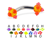 """Curved barbell with acrylic viking balls, 10 ga,Length:7/16"""" (11mm),Color:B"""
