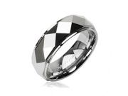 Tungsten Carbide Faceted Ring With Drop Down Edges,Ring Size - 11