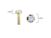 """14K solid gold internally threaded labret with clear 1.5mm genuine diamond, Lenght:3/8"""" (10mm)"""