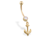14K Yellow Gold belly ring with small dangling anchor