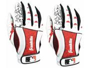 Franklin Insanity Adult Batting Gloves - Small - White/Red