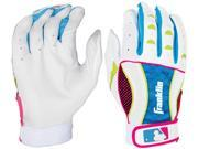 Franklin Insanity II Youth Batting Gloves -Small - White/Neon Pink/Electric Blue