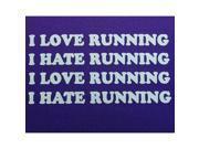 """Hippie Runner """"I Love Running, I Hate Running"""" Headband - Purple/White"""