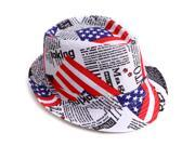 Short Brim Design Print Trilby Fedora Hat (American Flag)