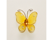 1 Inch Sheer Nylon Crystal Wire Butterfly w/ Rhinestones 12 Pieces wedding decorations - Color: Gold