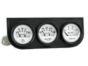 Auto Meter Autogage White Oil/Volt/Water Black Steel Console