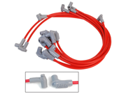MSD Ignition 31249 Custom Spark Plug Wire Set&#59; Red Super Conductor 8.5mm&#59; 90 deg.&#59; w/Low Profile Distributor&#59; PN[84697/8558]&#59; Wires Below Header/Exh. Man.&#59;