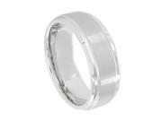 Cobalt Flat Brushed Center Polished Shiny Edge 9mm Wedding Band Ring