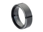 Tungsten Carbide High Polish Black Enamel Plated Beveled Edge 8mm Wedding Band Ring