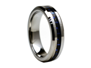 Tungsten Carbide with Black & Blue Carbon Fiber Inlay 6mm Wedding Band Ring