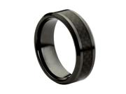 Ceramic with Black Carbon Fiber Inlay 8mm Wedding Band Ring