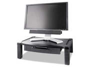 Wide Two-Level Stand With Drawer, Height-Adjustable, 20 X 13 1/4, Blac