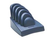 Insight Priority Puck Five-Slot Desktop Copyholder, Plastic, Dark Blue