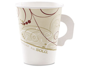 SOLO Cup Company 378HSMSYM Hot Cups, w/Paper Handle, Symphony Design, 8 oz., Beige