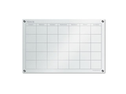 GlassX Frosted Glass Dry Erase Board with Monthly Planner, 35 x 23, Un