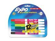 Low Odor Dry Erase Markers, Fine Point, Assorted, 12/Set