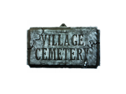 Large Faux-Stone Village Cemetery Halloween Decoration Sign With Skulls