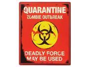 Quarantine Zombie Outbreak Walking Dead 19x16 Halloween Decoration Sign