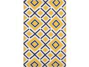 Handwoven Baelen Sunshine Yellow Wool Rug (3'6 x 5'6)