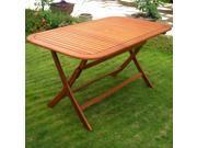 International Caravan Royal Tahiti Yellow Balau Rectangular Outdoor Folding Dining Table