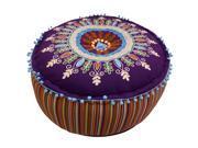 Celebration Purple Multicolor Embroided Pouf Ottoman