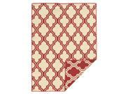 Linon Foundation Collection Red/ Ivory Quatrefoil Reversible Rug (5' x 8')