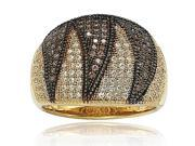 Suzy Levian Gold over Sterling Silver Brown and White Cubic Zirconia Anniversary Ring