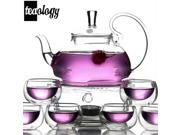 Teaology Fiore Borosilicate Blooming Teapot and 6 Luna Glass Teacup Set