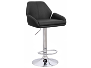 "Set of 4 Tesla Contemporary ""Leather"" Adjustable Barstool - Black Licorice"