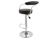 Zool Contemporary Adjustable Faux Leather Barstool - Black Licorice