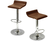 """Set of 4 Sigma Contemporary """"Leather"""" Adjustable Barstool - Coffee Brown"""