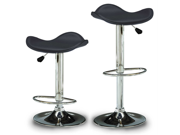 "Set of 2 Gamma Contemporary ""Leather"" Adjustable Barstool - Black Licorice"