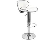 Kappa Contemporary Adjustable Barstool - Vanilla White