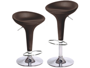 "Alpha ""Leather"" Contemporary Bombo Style Adjustable Barstool - Coffee Baseball Stitch"